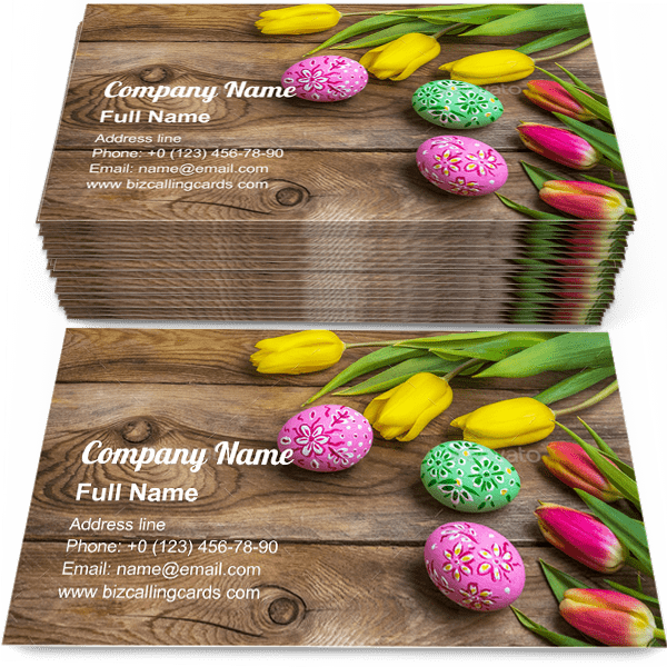 Sample of Easter eggs and tulips calling card design for advertisements marketing ideas and promote springtime branding identity
