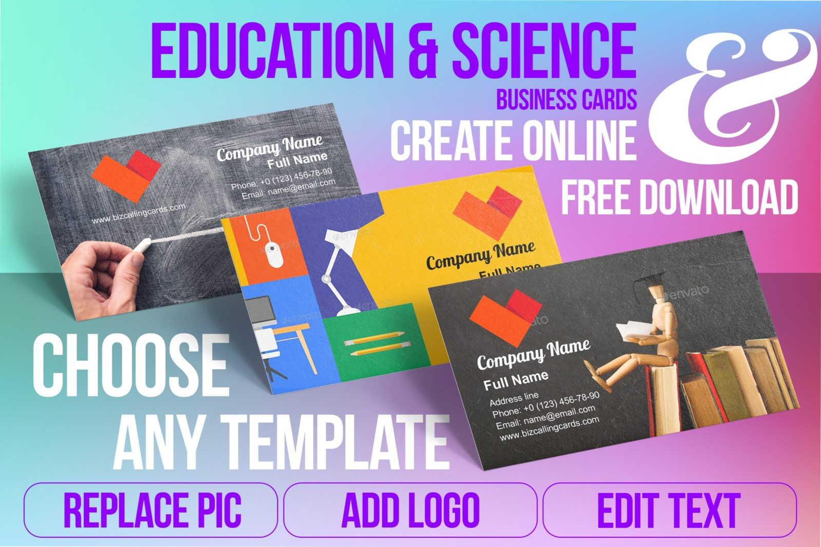 Business Card Templates For Education & Science Free Download