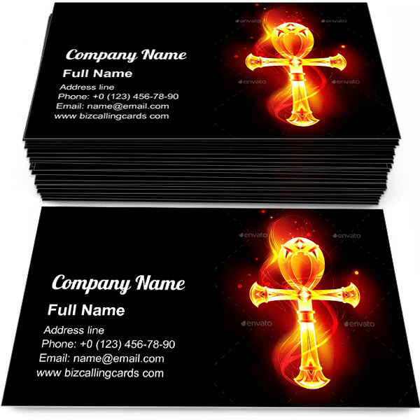 Sample of Egyptian ankh calling card design for advertisements marketing ideas and promote Egyptian cross branding identity