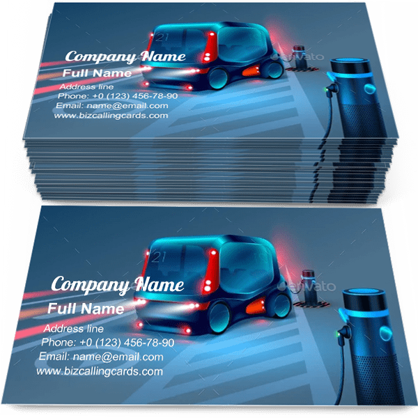 Sample of Electric Charging Station business card design for advertisements marketing ideas and promote Future automotive branding identity