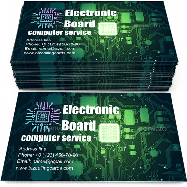 Sample of Electronic board and CPU calling card design for advertisements marketing ideas and promote computer service branding identity