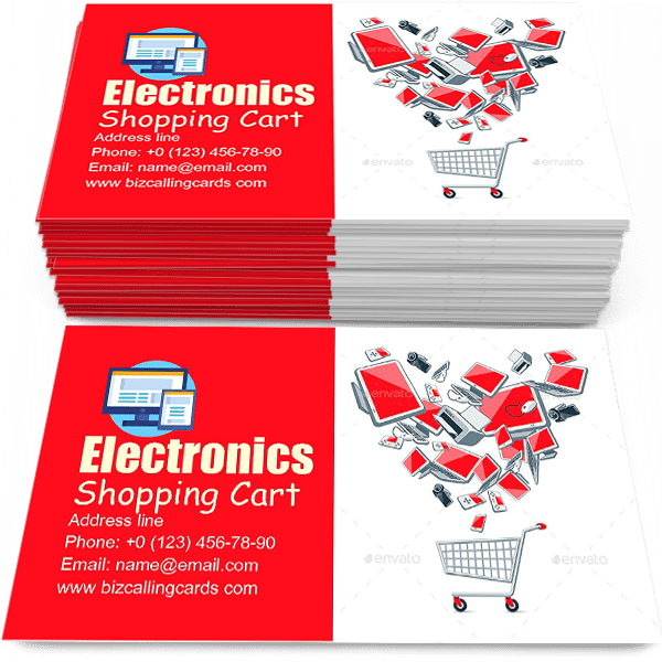 Electronics above a Shopping Cart Business Card Template