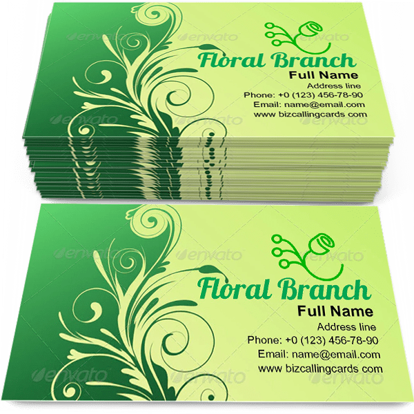 Sample of Elegant floral branch calling card design for advertisements marketing ideas and promote plant retail branding identity