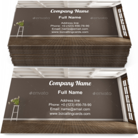 Empty brown room Business Card Template