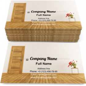 Empty room with door Business Card Template