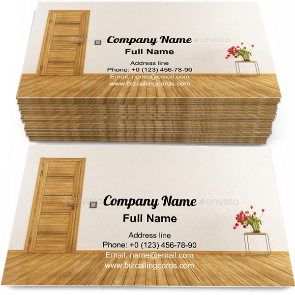 Sample of Empty room with door business card design for advertisements marketing ideas and promote living room interior branding identity