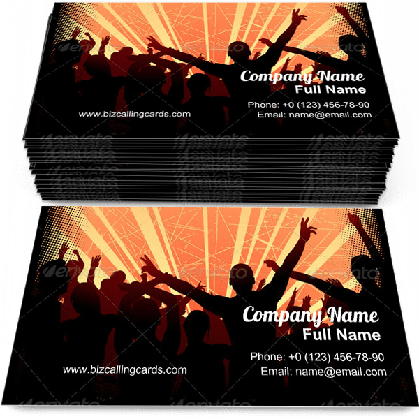 Sample of Excited party crowd business card design for advertisements marketing ideas and promote nightclub branding identity