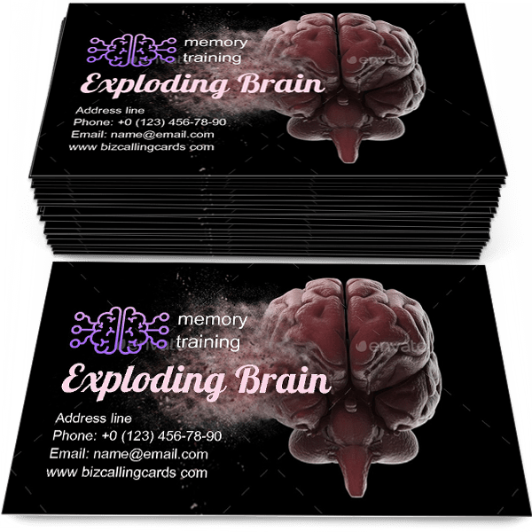 Sample of Exploding brain calling card design for advertisements marketing ideas and promote memory training branding identity