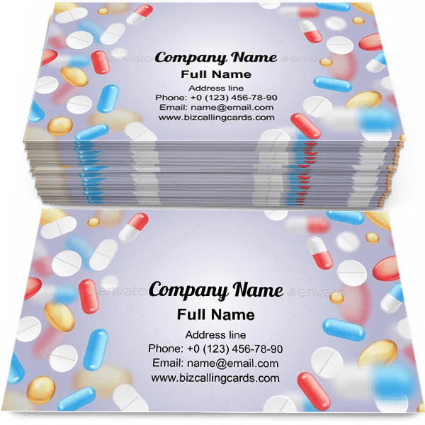 Sample of Falling pills frame calling card design for advertisements marketing ideas and promote healthcare branding identity