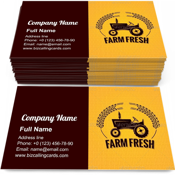 Sample of Farm Fresh Tractor business card design for advertisements marketing ideas and promote farming branding identity