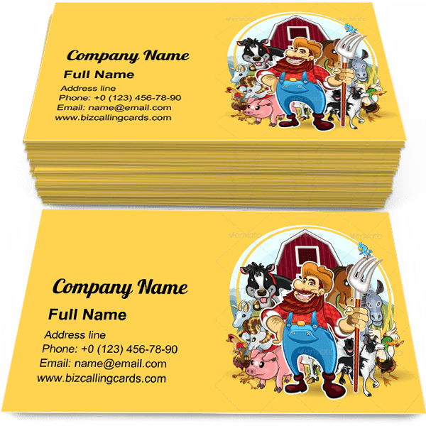 Sample of Farm Life Theme business card design for advertisements marketing ideas and promote ranch mascot branding identity