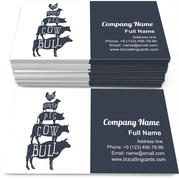 Sample of Farm animals silhouette business card design for advertisements marketing ideas and promote agriculture branding identity