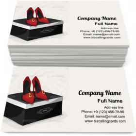 Fashion Woman's Red Shoes Business Card Template
