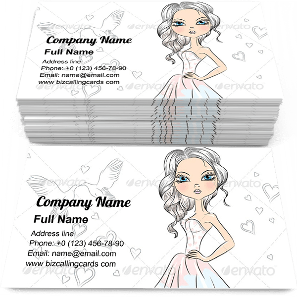 Sample of Fashionable Girl Bridea business card design for advertisements marketing ideas and promote wedding branding identity
