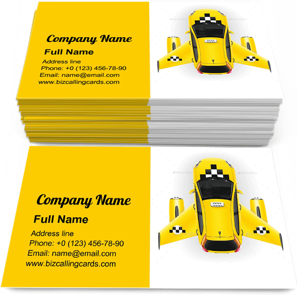 Sample of Fast taxi with wings calling card design for advertisements marketing ideas and promote Taxi branding identity