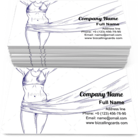 Female Body with Flying Fabric Business Card Template