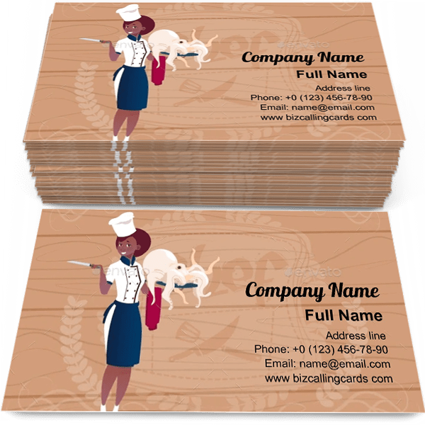 Sample of Female Chef Cook calling card design for advertisements marketing ideas and promote catering service branding identity