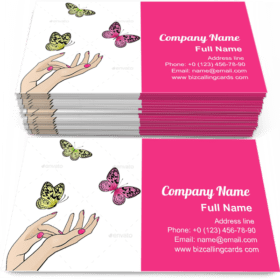 Female Hands with Butterflies Business Card Template