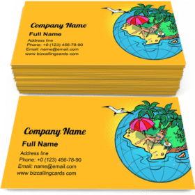 Female Tourist Resting Business Card Template