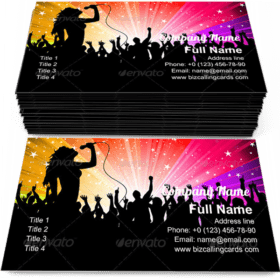Female singer performing Business Card Template