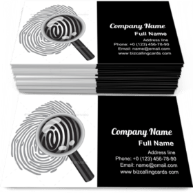 Finger Print with Magnifying Glass Business Card Template