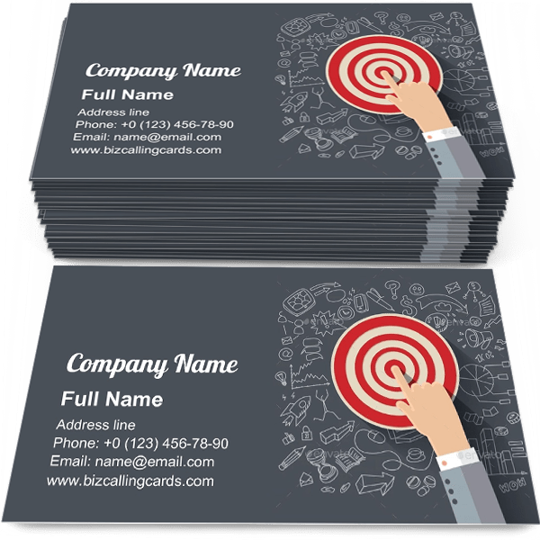 Sample of Finger to the Target calling card design for advertisements marketing ideas and promote performance branding identity