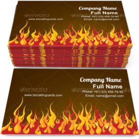 Fire background Business Card Template