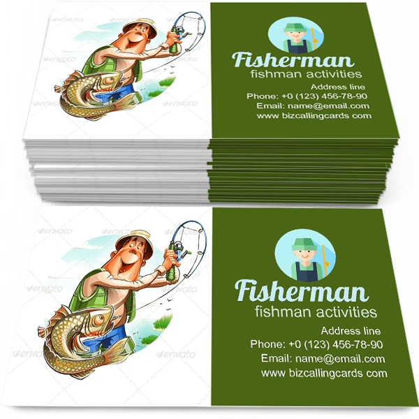 Sample of Fisherman And Fish calling card design for advertisements marketing ideas and promote fishman activities branding identity
