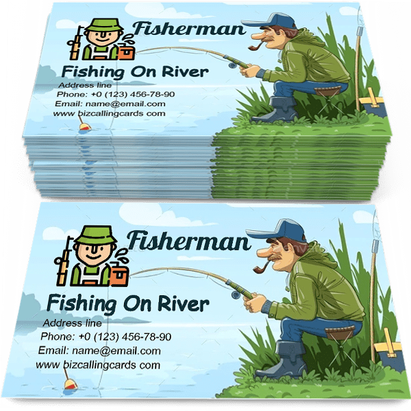 Sample of Fisherman with Rod Fishing on River calling card design for advertisements marketing ideas and promote fishman practice branding identity