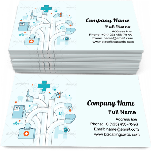 Sample of Flat Line Medicine Theme business card design for advertisements marketing ideas and promote medical care branding identity