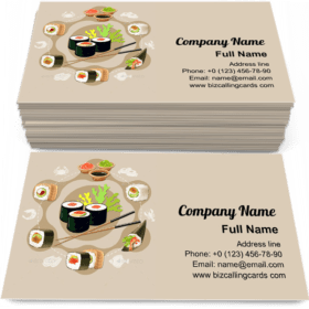 Flat Sushi Composition Business Card Template