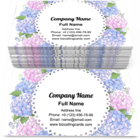 Floral Frame With Hydrangea Business Card Template