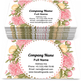 Floral Frame With Peonies Business Card Template