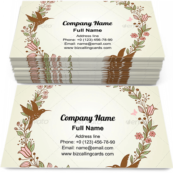 Floral Frame and Birds Business Card Template