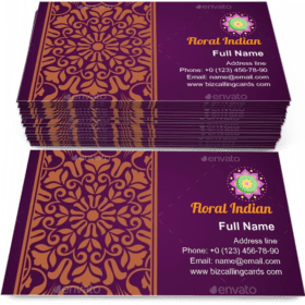 Floral Indian Pattern Business Card Template