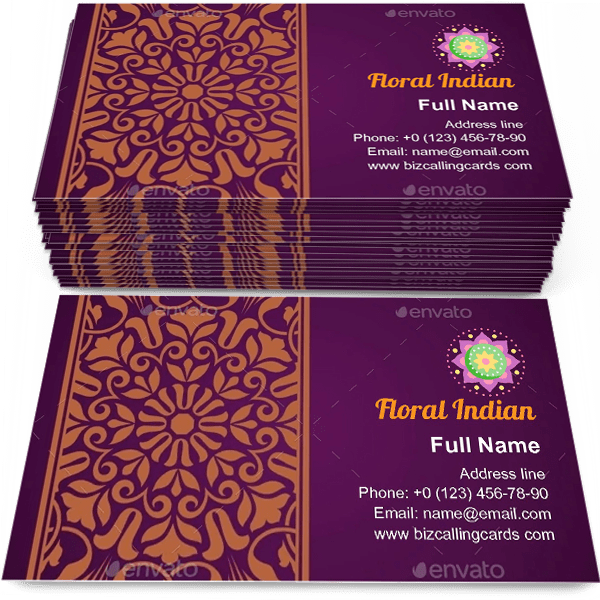 Sample of Floral Indian Pattern calling card design for advertisements marketing ideas and promote ethnic mastership branding identity