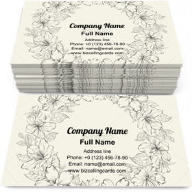 Floral Wreath Wedding Business Card Template