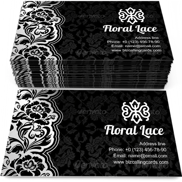 Sample of Floral black with lace calling card design for advertisements marketing ideas and promote decorative style branding identity