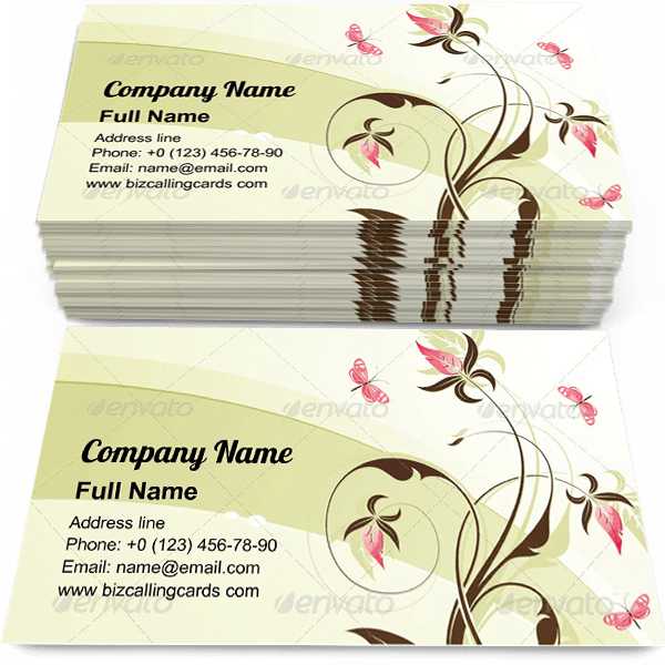 Sample of Floral butterfly element calling card design for advertisements marketing ideas and promote filigree branding identity