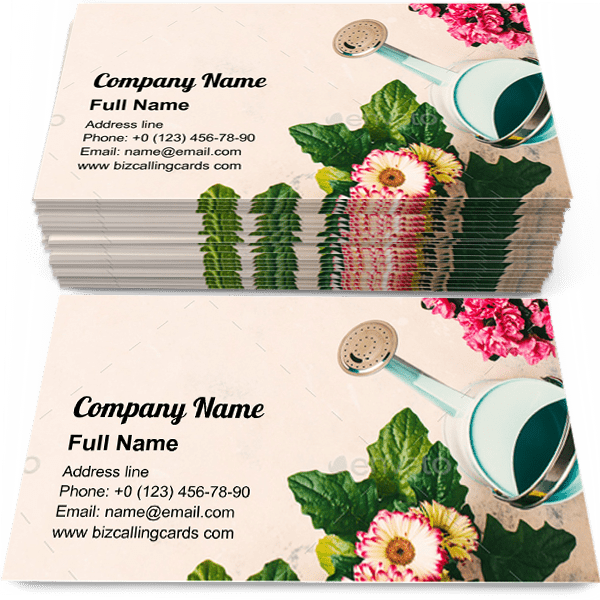 Sample of Floral gardening with flowers calling card design for advertisements marketing ideas and promote gardener branding identity