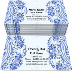 Floral gzhel style Business Card Template