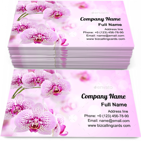 Sample of Floral of tropical orchids business card design for advertisements marketing ideas and promote romantic branding identity