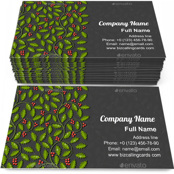 Floral with Holly Business Card Template