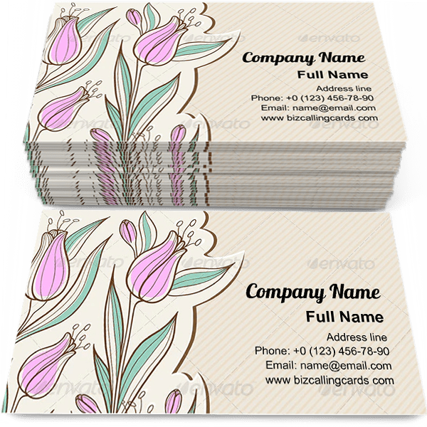 Sample of Floral with Pink Tulips calling card design for advertisements marketing ideas and promote blossom service branding identity