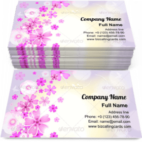Floral with pink flowers Business Card Template