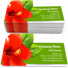 Floral with red hibiscus Business Card Template