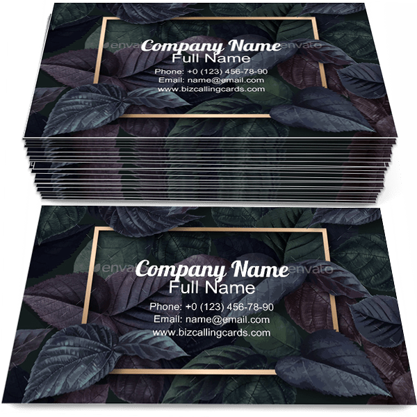 Sample of Forest Leaf calling card design for advertisements marketing ideas and promote invitation branding identity