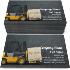 Forklift truck with cardboard boxes Business Card Template
