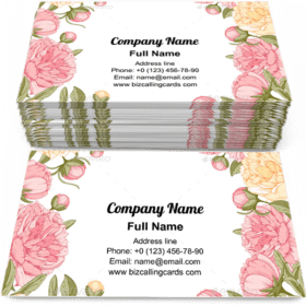 Frame With Peony Flowers Business Card Template