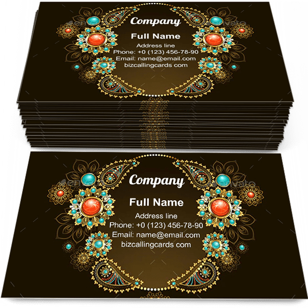 Sample of Frame with Ethnic Gold calling card design for advertisements marketing ideas and promote Jewelry branding identity